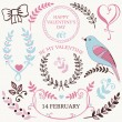 Vector set of Valentine's day design elements and borders for wedding card or invitation with decorative illustrations — ベクター素材ストック