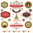 Vector collection of graphic elements for Christmas and New year's design in retro colors — Stock Vector