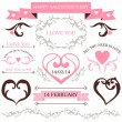 Vector set of Valentine's day design elements and borders for wedding card or invitation with decorative illustrations — Imagens vectoriais em stock
