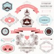 Vector collection of decorative wedding design elements — Vettoriali Stock