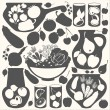 Set with abstract food stickers - vector black silhouettes. — Stock Vector