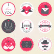 Vector collection of decorative wedding icons — Stock Vector