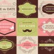 Vector set of decorative wedding frames and cards — Stock Vector