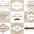 Vector set of decorative wedding frames and card in retro color — Stock Vector