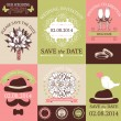 Vector set of decorative wedding cards and stickers — Vettoriali Stock