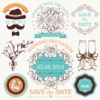 Vector set of wedding design elements and decoration with hand drawn illustrations — Stock Vector
