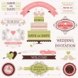 Vector collection of decorative wedding design elements — Stock vektor