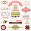 Vector collection of decorative wedding design elements — ストックベクタ