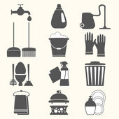 Vector set of home cleaning elements — Stock Vector
