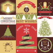 Vector collection of Christmas and New year's stickers and cards with hand drawn illustrations in retro colors — Stock Vector