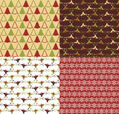 Vector collection of Christmas and New year's patterns — Vector de stock