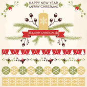 Vintage design for Christmas and New year's greeting card — Stock Vector