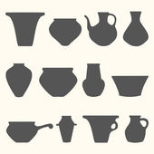 Vector set of tableware silhouette — Stock Vector