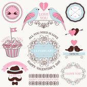 Vector set of artistic wedding design elements and decoration — Vector de stock