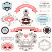 Vector collection of decorative wedding design elements — Stock Vector