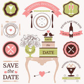 Vector collection of decorative wedding dinner elements — Vettoriale Stock