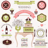 Vector collection of decorative wedding dinner elements — Stock Vector