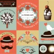 Vector set of decorative valentines day cards and stickers. — Vecteur #38413827