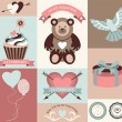 Vector collection of valentines day retro cards and banners with decorative elements. — Stock Vector