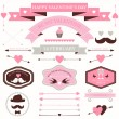 Vector set of valentine's day vintage design elements. icons, labels, arrows — Stok Vektör