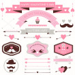 Vector set of valentine's day vintage design elements. icons, labels, arrows — Vector de stock