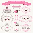 Vector set of valentine's day vintage design elements and icons — Stok Vektör