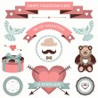 Vector set of valentines day illustrations and icons in retro colors. — Stock Vector #38413869