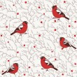 Winter seamless pattern with bullfinch birds on tree branches with red berries — Stock Vector