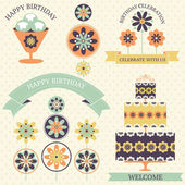 Vector set of birthday celebration icons in vintage colors with artistic flowers. — Stock Vector