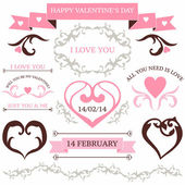 Vector set of valentine's day vintage design elements in tatoo style — Stock Vector