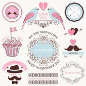 Vector set of valentine's day vintage design elements — Stock Vector