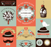 Vector set of decorative valentines day cards and stickers. — Stock Vector