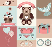 Vector collection of valentines day retro cards and banners with decorative elements. — Vecteur