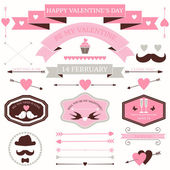 Vector set of valentine's day vintage design elements. icons, labels, arrows — Stock Vector