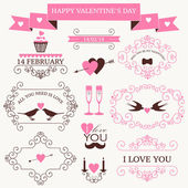 Vector set of valentine's day vintage design elements and icons — Vector de stock