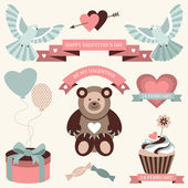 Vector set of valentines day illustrations and icons in retro colors. — Stock Vector