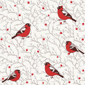 Winter seamless pattern with bullfinch birds on tree branches with red berries — Stockvektor