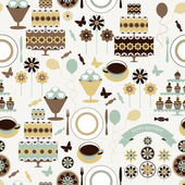 Vector seamless pattern with holiday elements in vintage colors. — Stockvektor