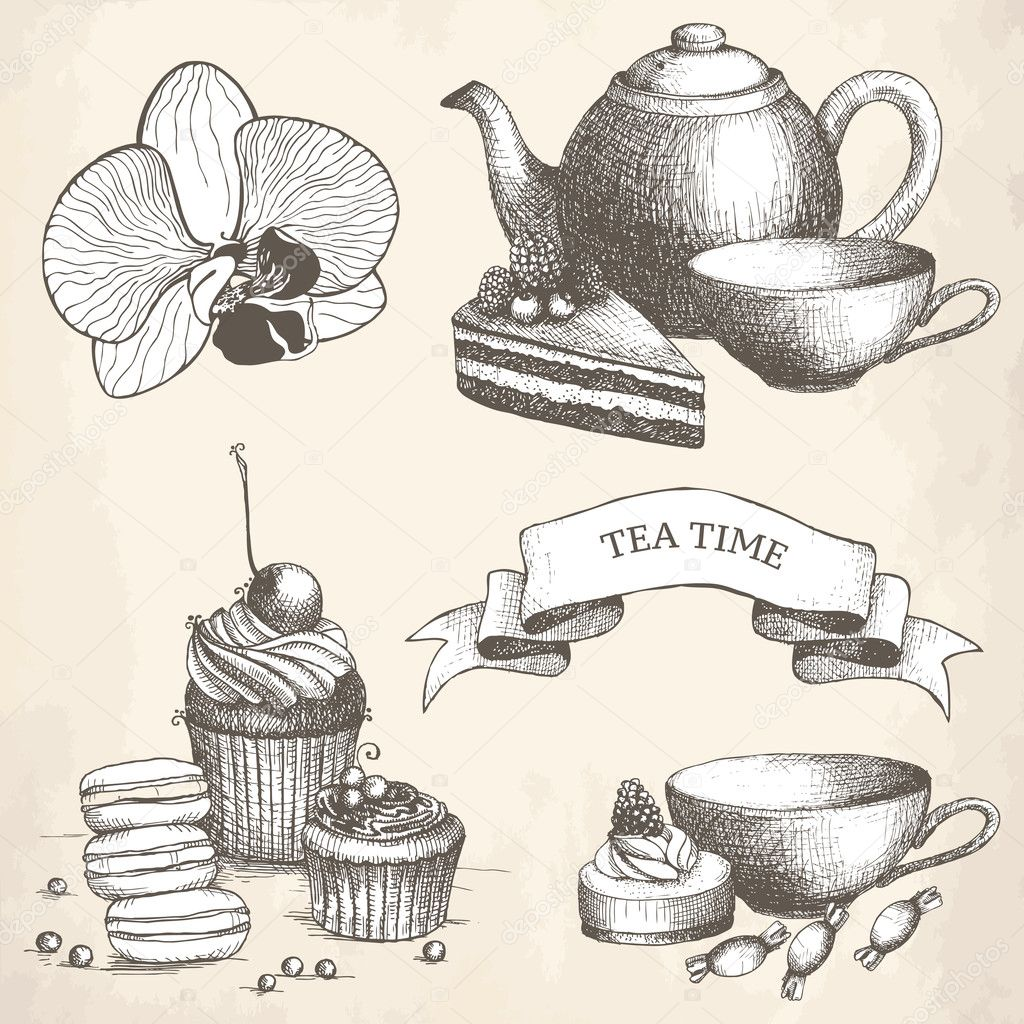 Vector set of vintage sweet cake, candies and teapot ...