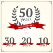 Vector set of anniversary signs — Stock Vector #40543003