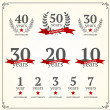 Vector set of anniversary signs — Stock Vector