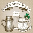 Stock vektor: Beer mug and glass for St. Patrick's day