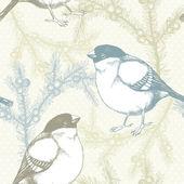 Juniper twigs and bullfinch birds — Stock Vector