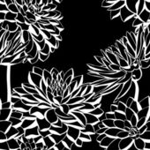 Vector seamless pattern with white decorative dahlia flowers — Stock Vector