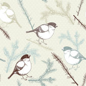 Vector seamless pattern with juniper twigs and bullfinch birds — Stock Vector
