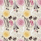 Seamless vector pattern with hand drawn spices. — Vecteur