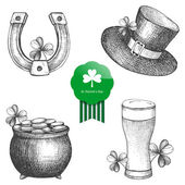 Vector collection of hand drawn illustrations for St. Patrick's day. — Stock Vector