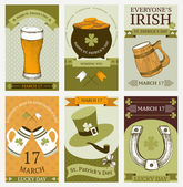 Vector collection of vintage cards for St. Patrick's day — Stock Vector