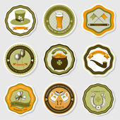 Vector collection of vintage stickers for St. Patrick's day — Stock Vector