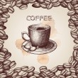 Hand drawn coffee cup illustration on decorative background with coffee beans frame — Stock Vector #42788953
